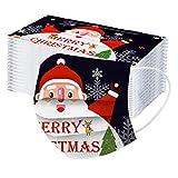 50 Piezas Unisexo Adulto Protección 3 Capas con Elástico, Exquisita Impresión de Navidad para Diario, Actividades al Aire Libre