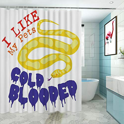 "Reptiles Stall Shower Curtain, Majestic Snake Says The Wild Truth Pet Lover Best Friend Illustration Gift Decor Washable Water Repellent Bath Curtains, 48"" W x 72"" L Purple Yellow Red"