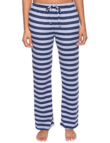 Calça de pijama térmica com suporte nobre para mulheres – Pijama de inverno para mulheres, Stripes Blue, Large