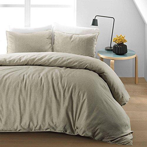 Nimsay Home Soft Pure Natural Flax Fibre Linen Blend Quilt Duvet Cover Bedding Set (Natural, Double Duvet Cover Set)
