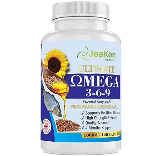 OMEGA 3 6 9 CAPSULAS - Omega 3 6 9 Aceite de Pescado de Alta Resistencia, Aceite de Semillas de Lino y Aceite de Semilla de Girasol - 120 Cápsulas de Ácido Graso con Puro con EPA DHA Destilada