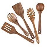 Kitchen Utensil Set for Cooking,Wooden Utensils Set Made of Natural Teak Wood NonStick Wooden Spoons for Cooking,Wood Spatula,Salad Fork,Ladle,Slotted Turner,spaghetti server