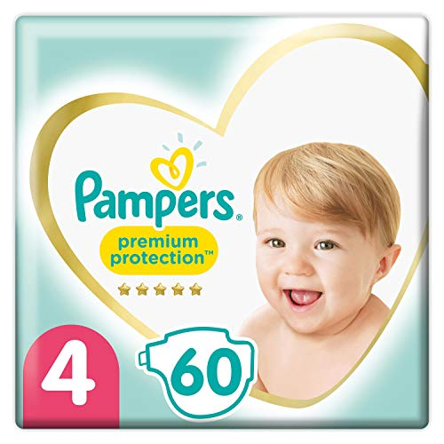 Pampers Premium Protection - Pañales, tamaño 4, 9 kg-14 kg, paquete doble (1 x 60 pañales)