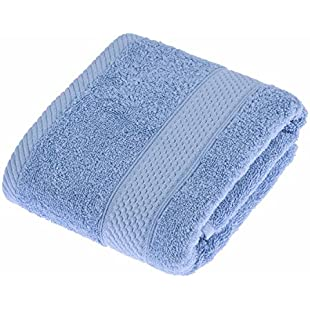 Homescapes Turkish Cotton Hand Towel Light Blue Very Soft and Absorbent, 500 GSM Heavy Weight for everyday Luxury