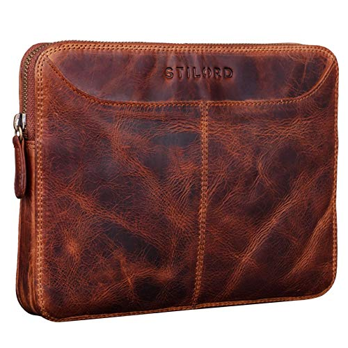 STILORD 'Tyler' Vintage Leather Case voor iPad 2018 9.7 Inch Tablet Sleeve Tablet Case Leder Portfolio Leather Case Echte Cowhide, Kleur:kara - cognac
