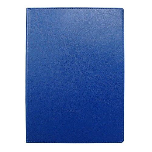 手帳カバー A5 ダークブルー ノートカバー ブックカバー 無地 横開き 合皮 手帳式 PUレザー