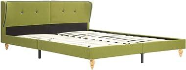 vidaXL King Bed Frame Fabric Strong Wood Frame Rubber Legs Slat Support Mattress Foundation Upholstered Bed Bedroom Furniture