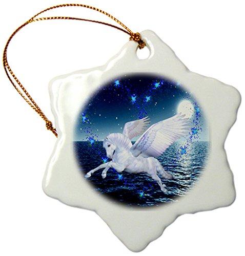 3drose Orn, 108161, 1 prachtige Pegasus paard in the Ocean Moonlight sneeuwvlok ornament, porselein, 7,6 cm