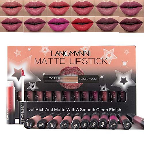 Lippenstift, Lipgloss, 12 Farben Lippenstift Set, wasserdicht Matte Nude Liquid Lipstick Schönheit Lippe Gloss, Sexy Long Lasting Moisturizing Lippenstift (A)