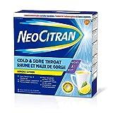 NeoCitran Relief Powder, Night, Lemon Flavor (20 Pouches, Cold & Sore Throat)