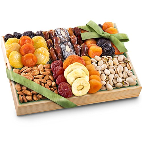 Pacific Coast Deluxe Dried Fruit Tray With Nuts Gift With Almonds & Pistachios for Holiday Birthday Healthy Snack Business Gourmet Food Platter 38 Oz