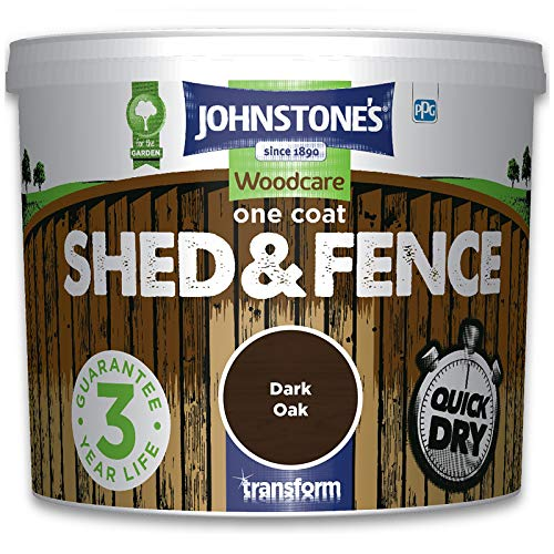 Johnstones Woodcare One Coat Shed & Fence Paint Garden Outdoor Fencing UV Protection Quick Dry 3 Year Life (9L - Dark Oak)
