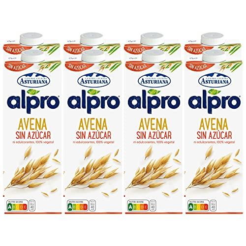 Alpro Central Lechera Asturiana Bebida De Avena, Sin Azúcar, 100% Vegetal, Baja En Grasas, Apta Para Veganos, Pack De 8 Briks De 1 Litro, 8 x 8490 g