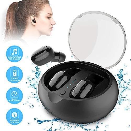 Bluetooth Headsets Wireless, V4.2 Kopfhörer in Ear mit Integriertem Mikrofon und Ladebox, X5 Noise Cancelling wasserdichte Sport-Kopfhörer Alle Arten von Telefonen für iPhone, Android (Schwarz)