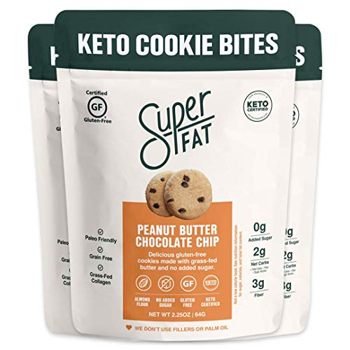 SuperFat Cookies Keto Snack Low Carb Food Cookies - Peanut Butter Chocolate Chip 3 Pack - Gluten Free Dessert Sweets with No Sugar Added for Paleo Healthy Diabetic Diets