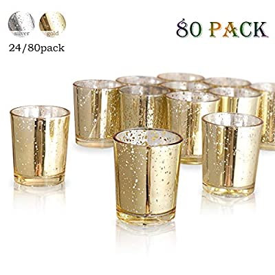 """Luxus Home Gold Mercury Votive Candle Holder, Glass Tealight Candle Holders for Weddings, Parties and Home Decor(2.64"""" H, 80PCS)"""