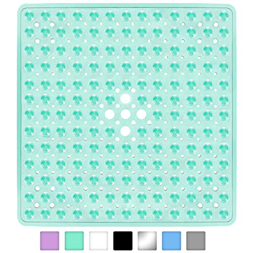 Yimobra Square Bath Shower Tub Mat for Bathroom, Non-Slip Suction Cups with Drain Holes, Machine Washable, Top Material, 21 x 21 Inches, Clear Green