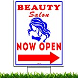 VIBE INK Beauty Salon Now Open w/Directional Arrows 18' x 24' Blue & Red on White Plastic Yard Sign - Double-Sided, Waterproof, Made in America!