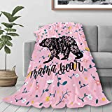 321DESIGN Flannel Fleece Bed Blanket Flower Bear Mama Floral Watercolor Throw for Couch, Sofa, Travel, Lap - Warm and Cozy - Small 40x50 in