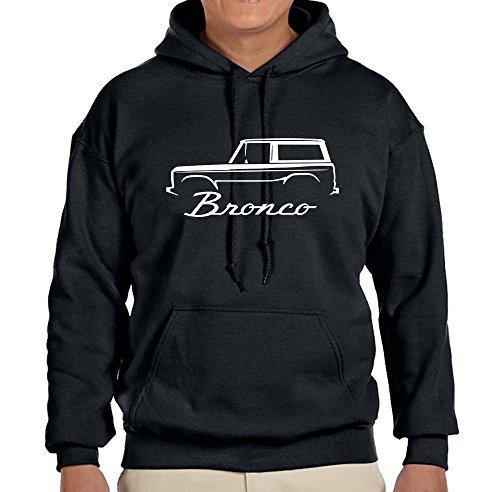 1966-77 Ford Bronco Truck Classic Outline Design Hoodie Sweatshirt Large Black