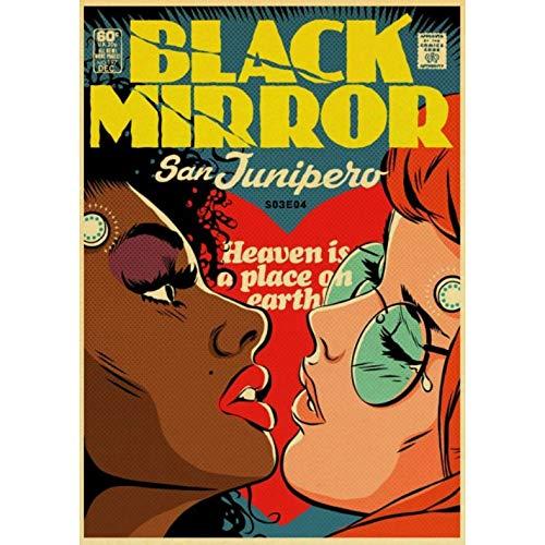 Vintage Classic Movie Black Mirror Poster Pintura Retro Poster Home Bar Decoración De Pared/Pegatinas 50 × 70Cm Sin Marco