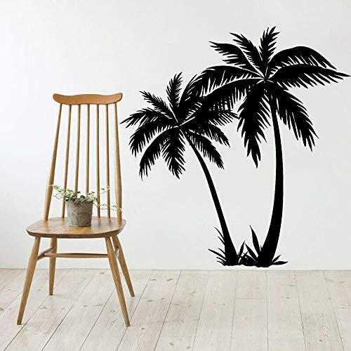 Vkjrro Silueta Pared calcomanía Sala de Estar Art Deco Playa Tropical casa Vinilo Pared Pegatina jardín de Infantes habitación de niños Ventana calcomanía 88x84cm
