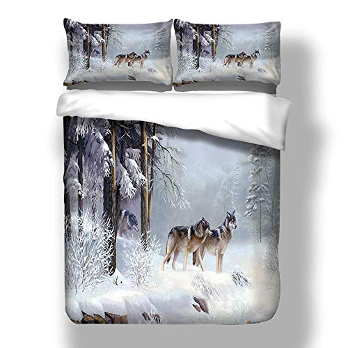YZBEDSET Wolf in The Snow 3D Bedding Sets Animal Print Quilt Duvet Cover Bed in A Bag Sheet Linen Bedspread,Us Twin 173X218Cm