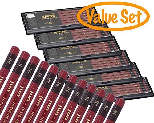 UNI Pencils Professional Set 144 Pencils with Case and 12 Erasers HB/ 2B/ 3B/ 4B/ 5B/ 6B/ H/ 2H/ 3H/ 4H/ 5H/ 6H 12 each
