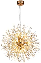 VELIHOME Lustre moderno com pingente de cristal, formato redondo, moderno, dente-de-leão, Sputnik, candelabro, fogos de ar...