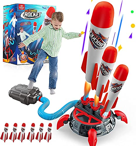 Lehoo Castle Druckluftrakete Kinder, Rakete Spielzeug mit 6 Schaumraketen, Geschenk Junge 7 Jahre, Spielzeug für Draußen ab 5 Jahre
