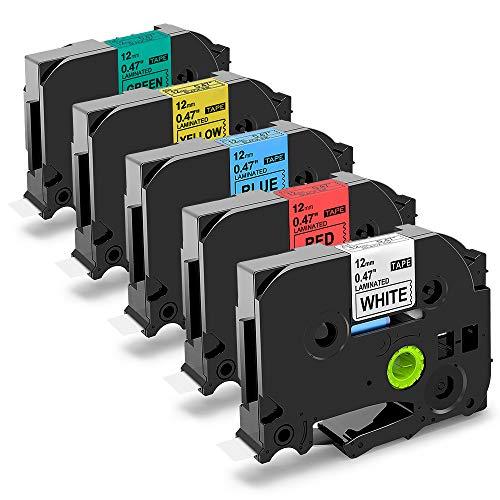 Nastri Oozmas Compatibile In sostituzione di Brother TZe Tape 12mm 0.47, TZe231 TZe431 TZe531 TZe631 TZe731, Compatibile Brother P-touch H100R 1005 1010 1830VP 2030, (confezione da 5)