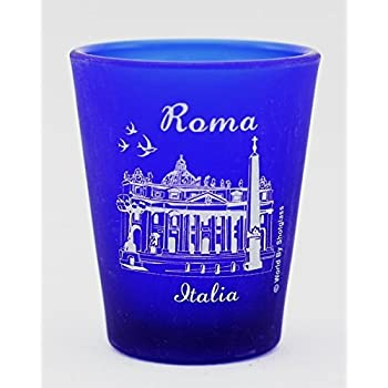 Milan Italy Cobalt Blue Frosted Shot Glass