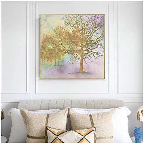 XIANGPEIFBH Leinwandmalerei drucken Moderne abstrakte Goldbäume Pflanze und Plakat für Wohnzimmer Pop Dekor Wandkunst Bild 30x30 cm / 11,8