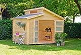 Outdoor Gartenhaus / Stufendachhaus Benno 4 Sockelmaß: 340 x 340 cm Außenmaß: 376 x 380 cm Wandstärke: 34 mm Rauminhalt: 26,10 cbm Ausführung: naturbelassen Material: Massivholz