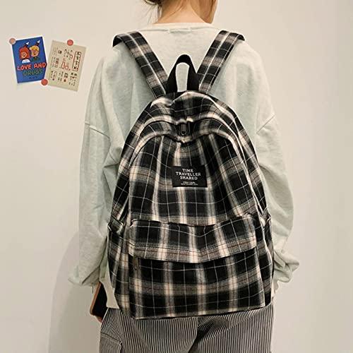 UKKO Borsa da Scuola Sacchetto di Scuola Adolescente per Le Ragazze Zaino Donne Plaid Bookbag Dolcebollo Medio Studente Schoolbag Grande Zaino da Laptop Canvas