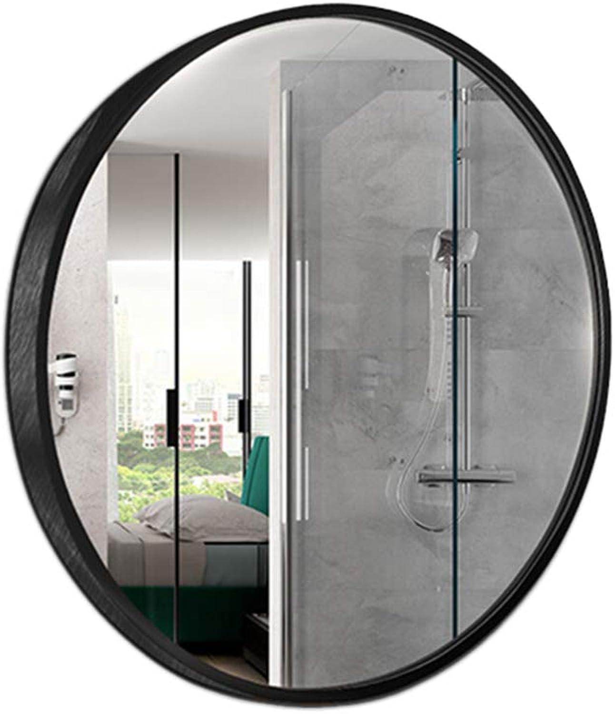 Aluminum Alloy Round Bathroom Mirror Bathroom Wall Mount Makeup Mirror Sink Dressing Mirror,Black,50CM