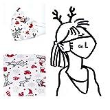 1 Mund- & Nasenmaske Weihnachten - Damen/Unisex - Weiß Santa Rentier - 100% Baumwolle 2-lagig Waschbar Handgenäht - Alltagsmaske; Behelfs-mundschutz; Gesichts-maske