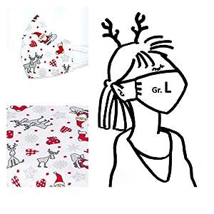 1 Mund- & Nasenmaske Weihnachten – Damen/Unisex – Weiß Santa Rentier – 100% Baumwolle 2-lagig Waschbar Handgenäht…