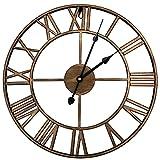 HOSTON Reloj de Pared Moderno con Pilas,Reloj Pared Romano Grande de decoración de Sala de Estar muda atómica de 40 cm,Adecuado para Empresas, escuelas, cafés (Bronce)