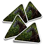 Pegatinas triangulares de vinilo (juego de 4) - Majestic Horse Doma Equine Fun Calcomanías para portátiles, tabletas, equipaje, reserva de chatarra, nevera #21204