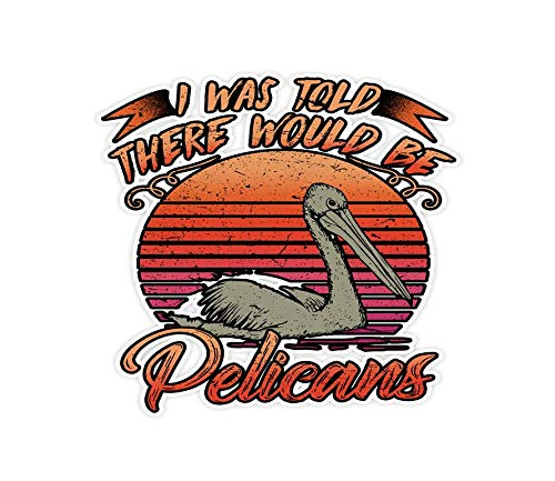 3 PCs Stickers Vintage I was Told There Would Be Pelicans - 3×4 Inch Die-Cut Wall Decals for Laptop Window Car Bumper Helm.