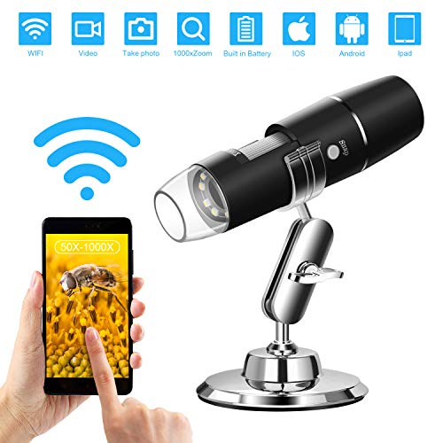 WiFi Mikroskop Kamera Digital Mikroskop, WADEO USB Microscope, 1000 x Vergrößerung Magnification mit 8-LEDs, Microscope für Android IOS iPhone ipad
