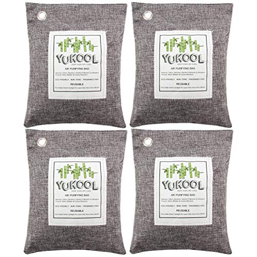 YUKOOL Charcoal Air Purifying Bags, 100% Bamboo Activated Charcoal Air Purifier and Air Freshener, Eco-Friendly for Home, 4pcs, 4 x 500g, Grey