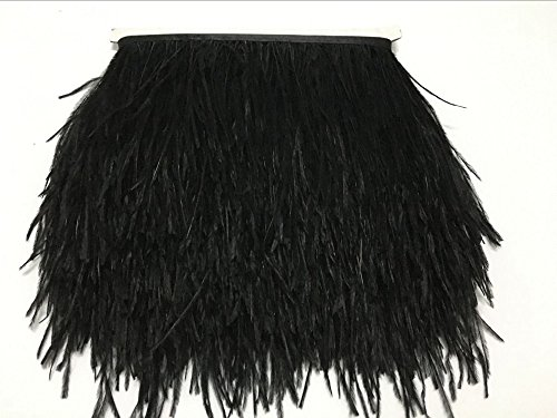 ADAMAI Natural Ostrich Feathers Trims Fringe DIY Dress Sewing Crafts Costumes Decoration Pack of 2 Yards (Black)