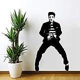 yaoxingfu Gran Elvis Presley King of Rock Vinyl Decal Sticker Extraíble Art Mural Home Decal Art Lving Room Wall Paper Card Color 57x100cm