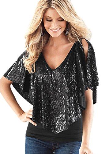 La Mujer Lentejuelas Chal Patchwork Profundo Escote En V Blusa Camisa Tops Black XL