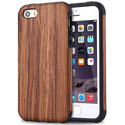 TENDLIN Cover iPhone SE Legno Ibrida Silicone TPU Flessibile Custodia Antiurto per iPhone SE 5S 5 (Legno di Sandalo Rosso)