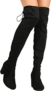 Nature Breeze Women Faux Suede Thigh High Chunky Heel Boot FC84