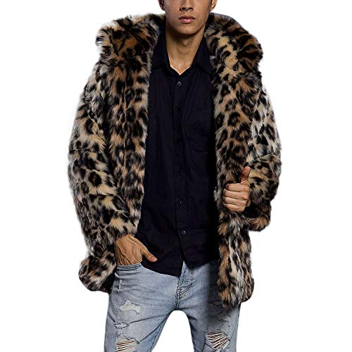 FIRSS Herren Mantel Pelzmantel Kurzmantel Plüsch Kragen Kunstfell Wolljacken Kunstpelz Wintermantel Warme Winter Trenchcoat