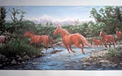 Wallpaper border depicting wild horses crossing a stream